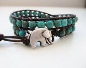 Happy Elephant Turquoise Magnesite Gemstone Bracelet - Beaded Leather Double Wrap Yoga Bracelet