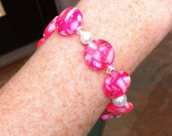 Mosaic shell bracelet hot pink pearls and swarovski elements beachy stretch bangle cuff