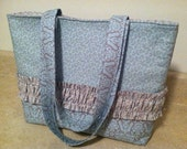 Blue Diaper Bag with Ruffles, Diaper bag with Pockets - Large Padded Tote / Large Handbag Purse