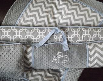 Chevron  Modern Gray and blue  Custom Baby Bumper Pad Crib Set DEPOSIT