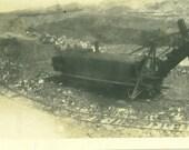 Steam Shovel Railroad Track Train Digging Heavy Equipment Building Construction Antique Vintage   Black White Photo Photograph