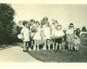 Birthday Party 1930s Group of Kids Holding Balloons Playing Vintage Black and White Photo Photograph