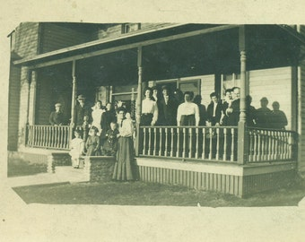 Antique RPPC Family Standing on Front Porch Victorian House Real Photo Postcard Vintage Black and White Photograph