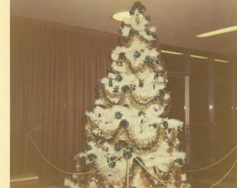 Decorated White Christmas Tree In Lobby 1969 Vintage Color Photo Photograph