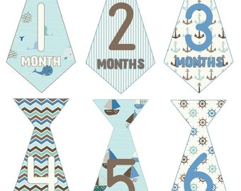 FREE GIFT, Baby Boy Monthly Stickers, Baby Month Stickers,  Milestone Stickers, Tie Stickers, Nautical, Blue, Brown, Sailboat, Whale, Anchor