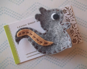 Squirrel Felt Hair Clip-FREE SHIPPING with 25 dollar order! Gray Squirrel Felt Hair Clip-No Slip Grip
