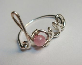 Sterling Silver Ring  Love Ring   Love Wire Ring   Pink Ring   Friendship Ring  Love Word Ring  Bridal Jewelry