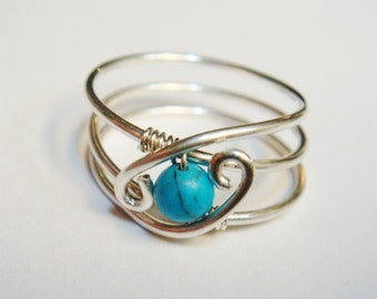 Turquoise Ring  Turquoise Jewelry  December Birthstone Sterling Rings for Women  Silver Ring  Rings  Sterling Silver