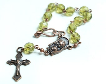Olive Green Rosary Bracelet in Antique Copper