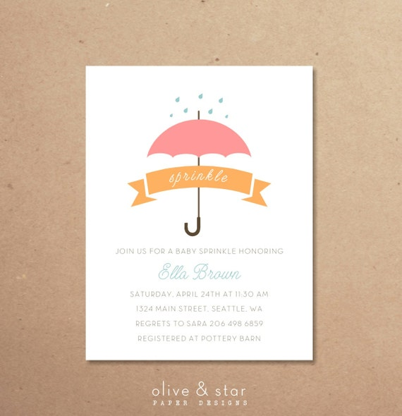 baby sprinkle + umbrella | baby shower invitation set