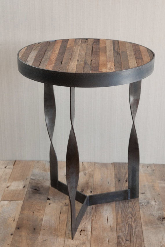 Items Similar To Twisted Steel Reclaimed Wood Side Table