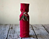 Upcycled Red WIne Bottle Bag - Wood Button - Hemp Twine - Hostess Gift - Knit Sweater - Eco Friendly - Wine Cozy