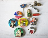 Vintage fun collection of Dutch Pins and Badges (11 pcs) from the 60s