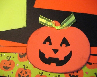 Scrapbook Page Kit Halloween Pumpkin Carving Layout 2 Pages Premade