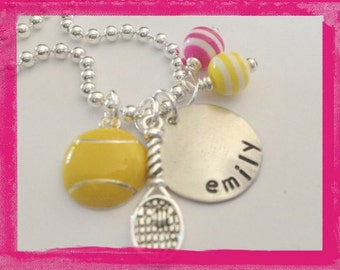 TENNIS Personalized Necklace - CustomHand Stamped Charm Necklace for Children #S56
