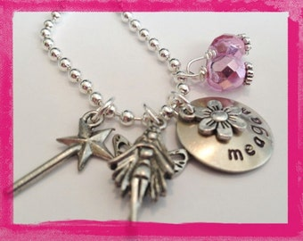 FAIRY NECKLACE - Personalized with your fairy princesses name - Hand Stamped Jewelry