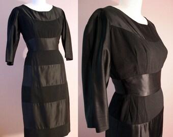 50s Cocktail Dress: Black Silk Wool Stripe Bombshell Sheath LBD XS S 4 Petite & Curvy!