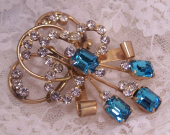 Vintage De Curtis Brooch, Princess Cut Rhinestones, Antique Estate Fine Jewelry, Something Blue, Bridal Wedding Jewelry, Statement Piece