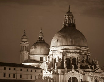 Venice Photo Italy Photograph Venice Night Black and White Church Duomo Cathedral Vintage ven56