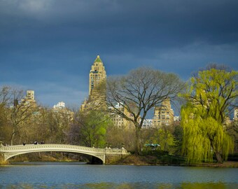 New York Photography, Central Park Photo Bow Bridge Photograph storm nyc Print Lake Spring Landscape nyc59