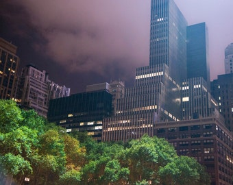 New York Photograph, Nyc Skyline Night Photo Manhattan Skyscrapers Bryant Park Uptown Wall Art Home Decor nyc70