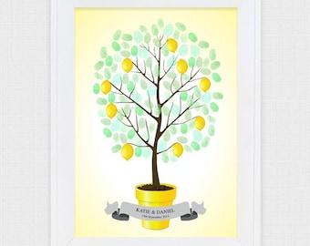 lemon tree wedding fingerprint guestbook - printable file