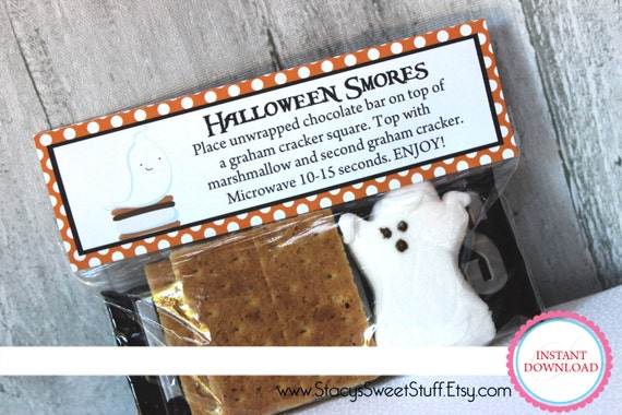 Halloween Smores Treat Bag Toppers, DIY, Printable, INSTANT DOWNLOAD ...