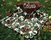 Camo Minky Blanket  - Chocolate Minky- Personalized/Appliqued - Baby Boy - Multiple Sizes