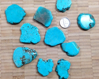 Large Slab Turquoise Howlite Beads - 10 Pieces