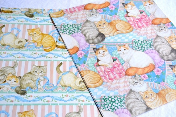 Vintage Wrapping Paper - Gordon Fraser Cats - 2 Sheets