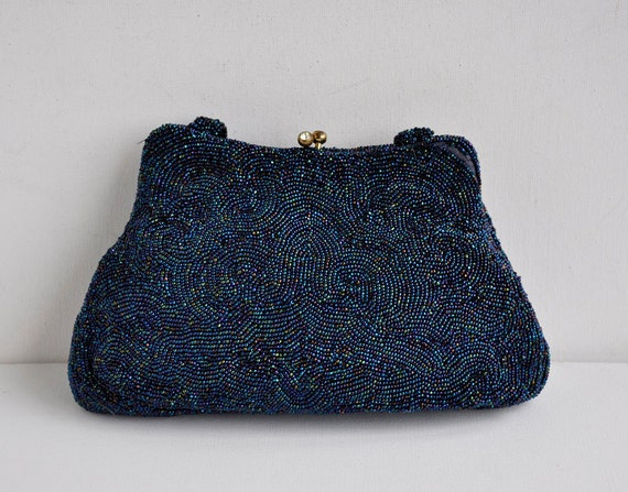 Vintage 50s Peacock AB Beaded Purse Clutch