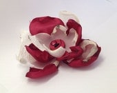 Beautiful Fabric Flower Hair Clip in Cream and Burgundy