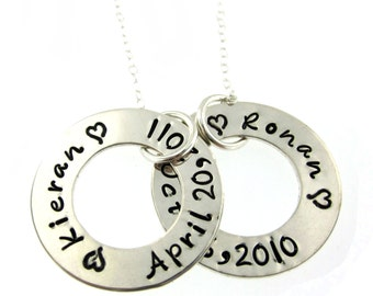 Two Circle of Names and Dates...  Hand Stamped Jewelry ByHannahDesign