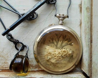 Reliquary Assemblage - The Passage of Time Is Soundless With Handmade Watch Chain and Fob