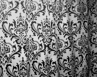 Custom made designer shower curtain Traditions damask black and white cotton