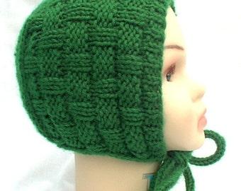 Hat Bonnet Baby In A Basket  Kelly Green Lovingly Hand Knit 6-12 Months Boy Girl