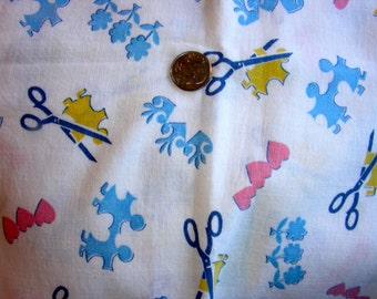 Vintage FEEDSACK Cotton Novelty Fabric - RARE -  Children's Paper Dolls and Hearts  - 34 x 44