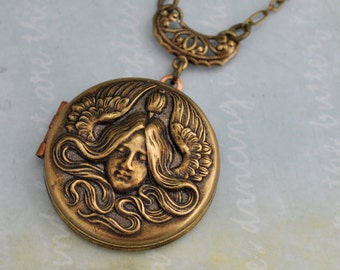 vintage brass locket, locket necklace, angel necklace, guardian locket, GUARDIAN victorian style angel locket necklace in antique brass