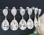 15% OFF SET of 6,7,8,9,10,11 Bridal Earrings Bridesmaid Earrings Bridesmaid Gifts Wedding Earrings Swarovski Crystal Tear drops (E-B-0001)