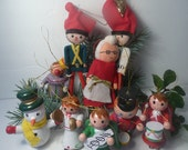 Vintage Christmas Collection Lot Angels Snowmen Mrs Claus Toy Soldiers Mid Century ornaments