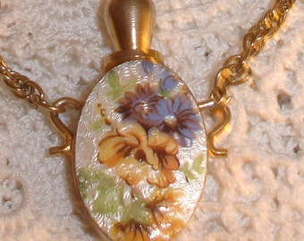 Lovely Yellow and Purple Flowers Enamel Perfume Bottle  Necklace