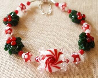 Peppermint Bracelet, Christmas Bracelet, Peppermint Candy, Winter Jewelry