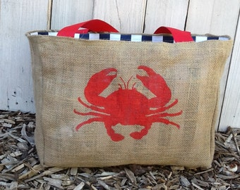 Eco-Friendly Crab Market Tote Bag, Handmade from a Recycled Coffee Sack