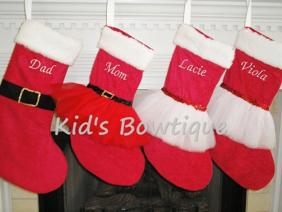Personalized Santa, Mrs.Claus, and Red/White Christmas Tutu Stockings Set - Monogrammed Red Holiday Stockings Set of 4