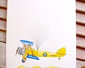 Small Airplane Fingerprint Guest book, Hand painted Biplane with balloons 2 colors, Custom Order