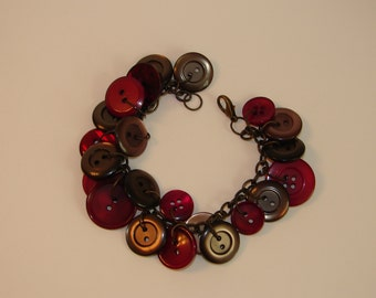 wine and gray button bracelet