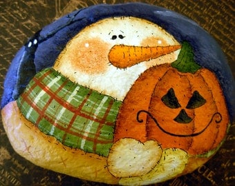 Pumpkin and Snowman Garden Stone - Handpainted|Holiday/Home/Garden Decor