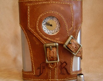 Hand Burned Initials Option for any Steampunk Flask