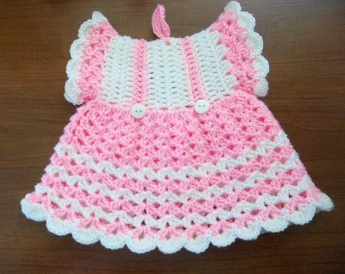 Potholder - Crochet Vintage Fashion Potholder in Pink and White - Looks like a little Dress