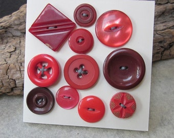 11 Red Vintage Buttons